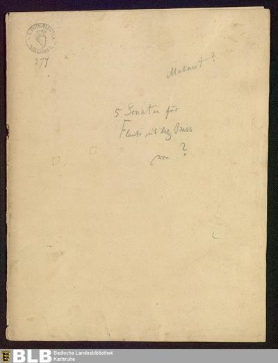 5 Sonatas - Mus. Hs. 277 : fl, bc