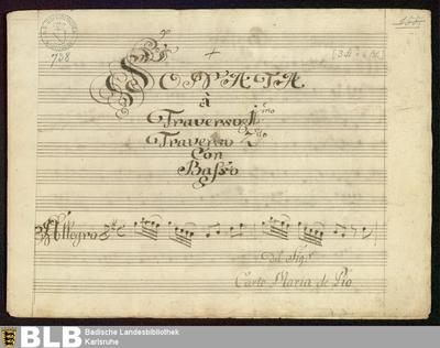 Sonatas - Mus. Hs. 738 : fl (2), b ; G ; GroT 3958-G