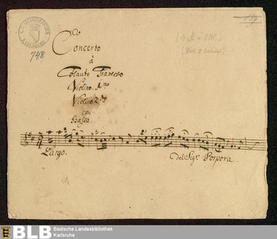 Concertos - Mus. Hs. 748 : fl, vl (2), b ; D ; GroF 795