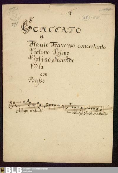 Concertos - Mus. Hs. 791 : fl, vl (2), a-vla, bc ; G ; GroF 811 JenS D81