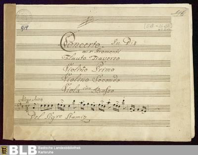 Concertos - Mus. Hs. 914 : fl, vl (2), vla, b ; D ; DTB 16 D18 GroF 127