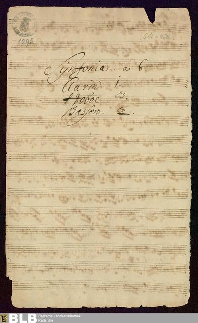 Symphonies - Mus. Hs. 1095 : ob (3), fag (2), clno ; D