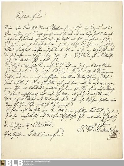 Brief von Johann Wenzel Kalliwoda an Heinrich Joseph Bärmann vom 15.06.1842 - K 3170,K,6