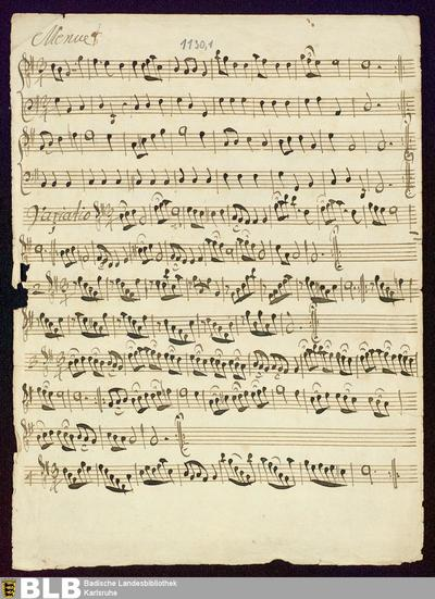 Sonatas. Excerpts - Mus. Hs. 1130,1 : fl, b ; G ; DunningL 1994 vol.X, Opera II/X/3 DunL 38.10/3