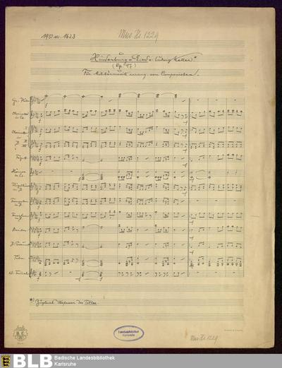 Hindenburg-Lied. Arr - Mus. Hs. 1229 : winds, tamburino ; A|b