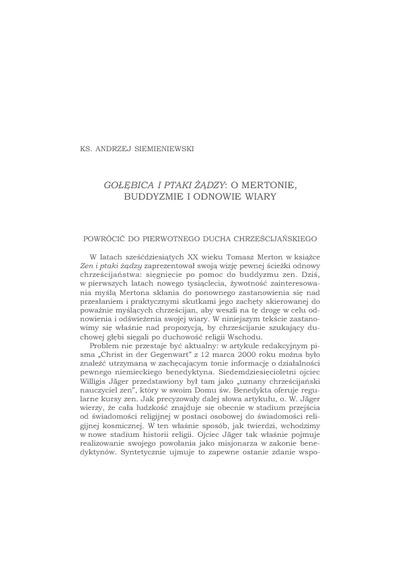 """""""Gołębica i ptaki żądzy"""" : o Mertonie, buddyzmie i odnowie wiary"""