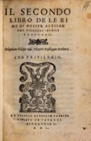 Il secondo libro de le Rime di Messer Alessandro Lionardi nobile Padovano