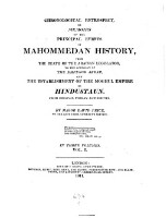 Chronological retrospect, or memoirs of the principal events of Mahommedan history from the death of the Arabian legislator to the accession of the emperor Akbar and the establishment of the Moghul empire in Hindustaun....