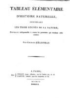 Tableau Elementaire D Histoire Naturelle Contenant Les Trois