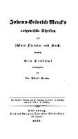 Ausgewählte Schriften zur schönen Literatur und Kunst ... hrsg. von Adolf Stahr.