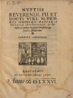 Nvptiis Reverendi, Pii Et Docti Viri, M. Henrici Schinckii, Pastoris Ecclesiae Gvstroviensis, Et Honestæ ac pudicæ virginis Christinæ Lysandræ, sponsæ eius. Carmina Amicorvm