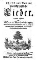 Thirsis und Damons freundschaftliche Lieder. 2., vielvermehr. Aufl.