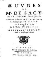 Oeuvres, contenant (la traduction francaise) des lettres de Pline le Jeune, du panegyrique de Trajan ... et le traite de l'amitie. Nouv. ed. rev. et corr