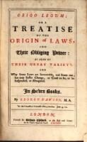 Origo legum: or a treatise of the origin of laws and their obliging power