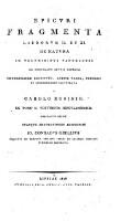 Fragmenta librorum II et XI de natura in voluminibus papyraceis ex Herculano erutis reperta probabiliter restituta, latine versa, scholiis et commentario (etc.)