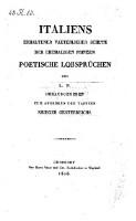 Italiens erhaltener vaeterlicher Schutz der ehemaligen Prinzen; poetische Lobsprüchen des L. P.
