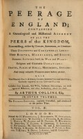 The peerage of England; containing a genealogical and historical account of all the Peers of that Kingdom etc. fourth edition, carefully corrected, and continued to the present time (Vol.3)