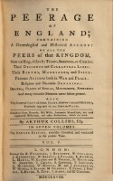 The peerage of England; containing a genealogical and historical account of all the Peers of that Kingdom etc. fourth edition, carefully corrected, and continued to the present time (Vol.5)