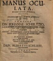 Manus Oculata : Dissertatione Jvridica Delineata