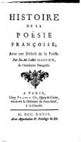 Histoire de la poesie francoise, avec une defense de la poesie (etc.)