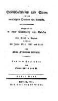 Gesellschaftsleben und Sitten in den vereinigten Staaten von Amerika (Erster Band)