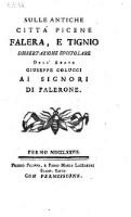 Sulle antiche citta Picene Falera e Tignio. Dissertazione epistolare