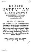 De Arte Svppvtandi, Libri Qvatvor Cvtheberti Tonstalli, hactenus in Germania nusquam ita impressi