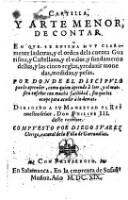 Cartilla, Y Arte Menor, De Contar (etc.)