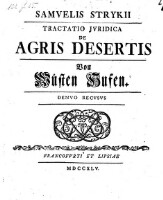 Samvelis Strykii Tractatio Jvridica De Agris Desertis