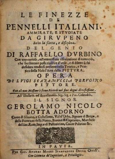 Le Finezze De Pennelli Italiani, Ammirate, E Stvdiate Da Girvpeno Sotto la scorta, e disciplina Del Genio Di Raffaello D'Vrbino (etc.)