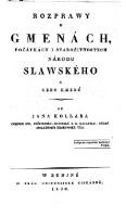Rozprawy o gmenach, pocatkach i starozitnostech narodu Slawskeho a geho kmenu