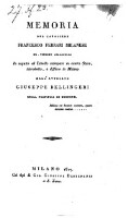Memoria in seguito al Libello stampato in estero Stato introdotto e diffuso in Milano da Giuseppe Bellingeri