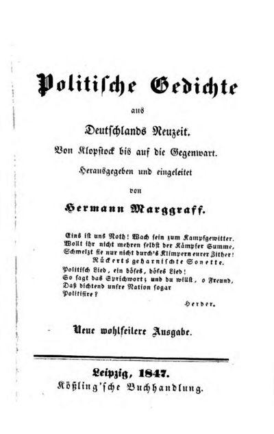 Politische Gedichte aus Deutschlands Neuzeit; Von Klopstock bis auf die Gegenwart