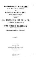 Deposizioni giurate dei detenuti correi del --- nella congiura ordita (etc.)