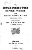 Il Buontempone di porta Ticinese ovvero sabbato, domenica e lunedi. Melodramma buffo. Musica di Placido Mandanici