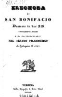 Eleonora di San Bonifacio Dramma in due atti