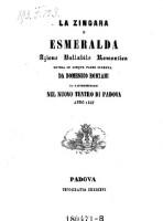 La Zingara o Esmeralda Azione ballabile romantica divisa in 5 parti