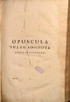 [S. Caecilii Cypriani Opera] : Opuscula Vulgo Adscripta Caecilio Cypriano