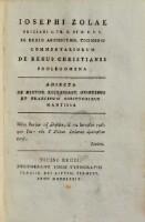 <<Josephi Zolae>> Commentariorum de rebus Christianis prolegomena