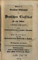 Anthologie aus den Gedichten von ---. Mit Biographie und Porträt (Meyer's Groschenbibliothek)