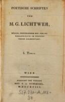 Poetische Schriften ; I. Theil