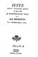 Jefte Melo-dramma serio in 2 atti ... Teatro di San Benedetto (etc.)