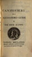 Canzonieri di Alessandro Guidi e de' due Zappi