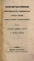 Sanchuniathonis Historiarum Phoeniciae libros novem graece versos a Philone Byblio ; edidit latinaque versione donavit F. Wagenfeld