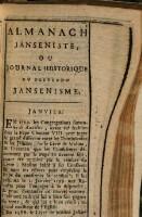 Etrennes Jansenistes ou journal des principaux faits de l'histoire du pretendu Jansenisme ...