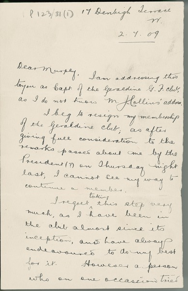 [Letter from P. Barrett to Dan Murphy, Captain of the Club's football team, concerning his resignation from the club.]