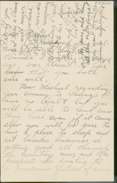 [Letter from Patrick Collins (brother) to Michael Collins concerning the possibility of Michael going to Chicago.]
