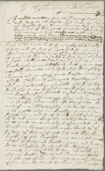 [Last will and testament of Captain Patrick Fleming, son of Christopher Lord Baron of Slane, Aire-sur-la-Lys, 1st December 1637.]
