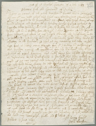 [Transcripts of letters from Colonel John Hewson, governor of Dublin, and William Basil, attorney general of Ireland, June-July 1651.]