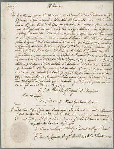 [Endorsed copy of letter of Cardinal Guadagni, nephew of Pope Clement XII, with seal, 8th July 1741.]